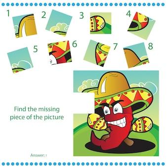 Trova il pezzo mancante - gioco di puzzle per bambini con pepe divertente