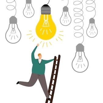 Trova una nuova idea. l'uomo aumenta l'illustrazione delle scale