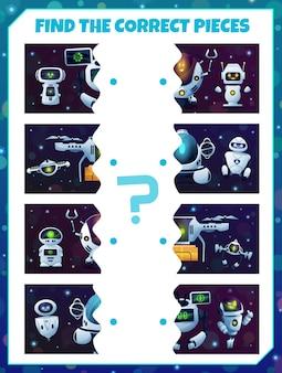 Trova un pezzo di gioco per bambini robot. abbinare il labirinto delle metà