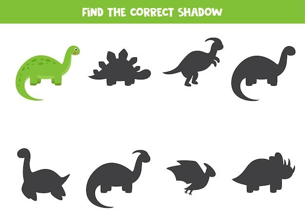 Trova l'ombra del brontosauro simpatico cartone animato. gioco di logica per bambini.