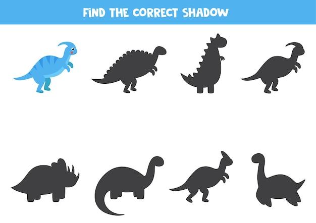 Trova l'ombra del simpatico cartone animato parasaurolophus dinosauro gioco logico per bambini
