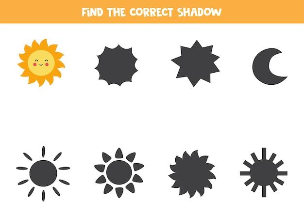 Trova l'ombra del simpatico sole kawaii. gioco logico educativo per bambini.