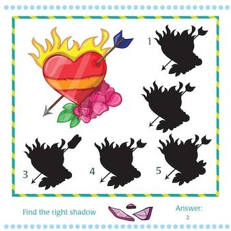 Trova l'ombra dell'immagine - cuore vettoriale