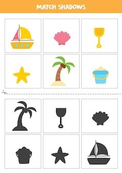 Trova le ombre degli elementi estivi dei cartoni animati. carte per bambini.