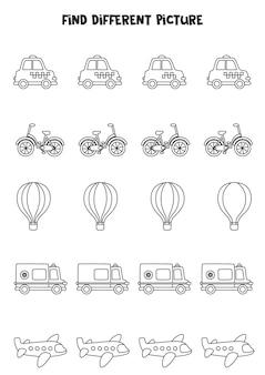 Trova un mezzo di trasporto diverso dagli altri. foglio di lavoro in bianco e nero per bambini.