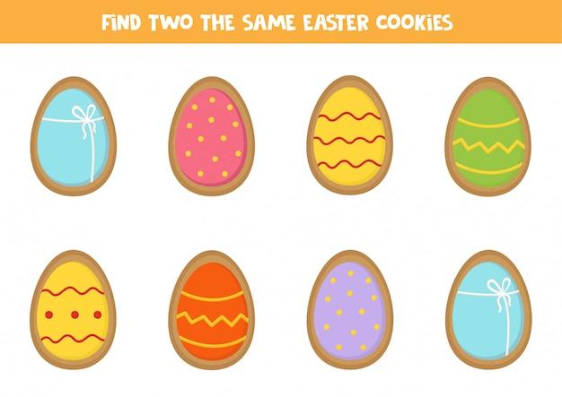 Trova due biscotti pasquali identici. logica educativa per i bambini.