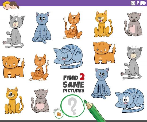 Trova il gioco di due personaggi di gatto per bambini