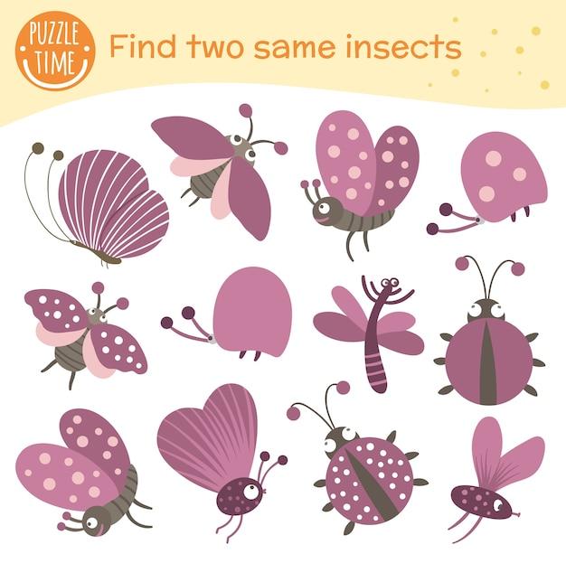 Trova due stessi insetti. attività di abbinamento per bambini in età prescolare. divertente gioco nel bosco per bambini. foglio di lavoro del quiz logico.