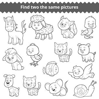 Trova due le stesse immagini, gioco educativo per bambini, set vettoriale di animali da fattoria