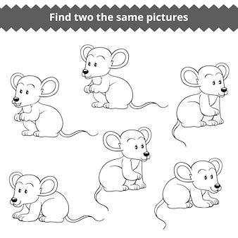 Trova due le stesse immagini, gioco educativo per bambini, set vettoriale di topi