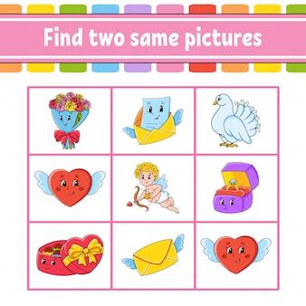 Trova due stesse immagini. compito per i bambini. foglio di lavoro per lo sviluppo dell'istruzione. pagina delle attività.