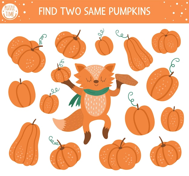 Trova due stesse zucche. attività di abbinamento autunnale per bambini. foglio di lavoro logico quiz educativo divertente per la stagione autunnale per bambini. semplice gioco da stampare con verdure e simpatica volpe arancione