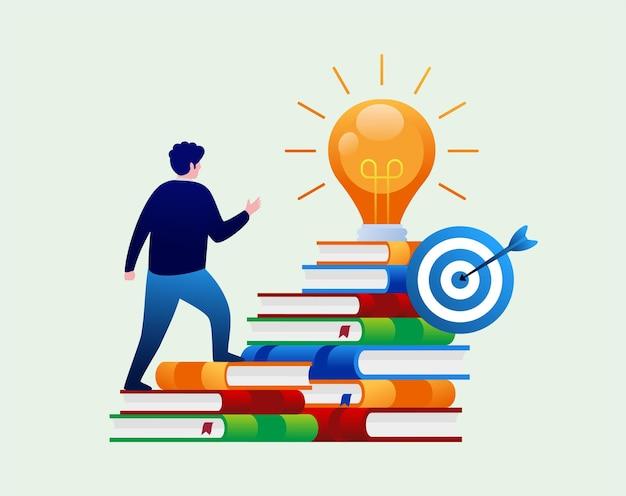 Trovare idee per il brainstorming del concetto di educazione libro di riferimento libreria online piatto illustr di vettore