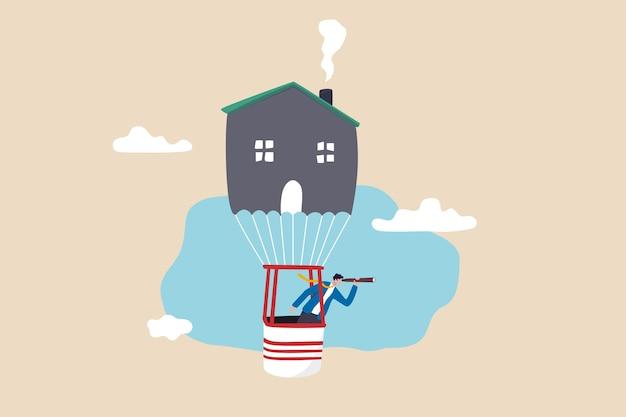 Trovare una nuova casa o trasferirsi in una nuova casa, cercare o scoprire proprietà immobiliari o profitti, visionari o idee per l'acquisto, l'affitto o il prestito ipotecario, uomo d'affari intelligente che vola in mongolfiera per vedere la visione.