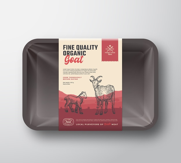 Capra biologica di ottima qualità. mockup di contenitore per vassoio in plastica di carne