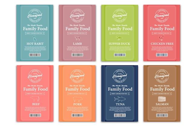 Set di etichette verticali di carne e pollame biologici di alta qualità design astratto di imballaggio tipografia moderna e disegnato a mano maiale mucca e altri animali da fattoria sagoma sfondo layout isolati