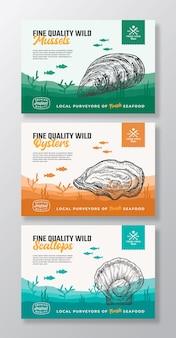 Etichette per imballaggi per alimenti vettoriali astratte di frutti di mare biologici di alta qualità impostano una tipografia moderna e disegni a mano ...