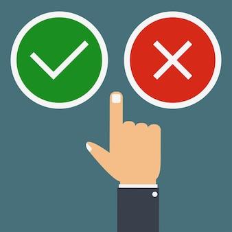 Il dito della mano preme i pulsanti sì o no concetto di scelta giusta o sbagliata buona o cattiva