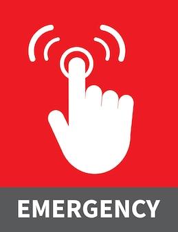 Premere il dito sul pulsante di emergenza