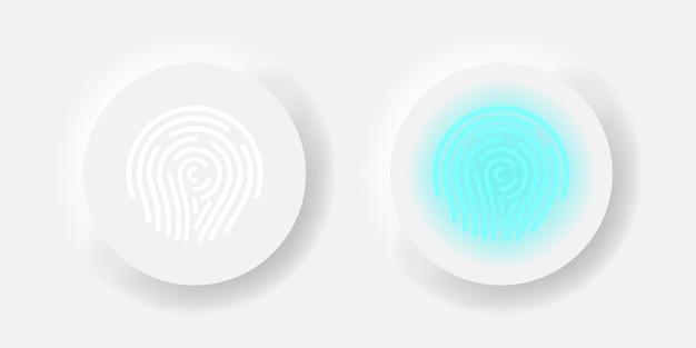 Concetto di scansione del neumorfismo di vettore del pulsante dell'impronta digitale. illustrazione del design dell'interfaccia utente della password del dito.