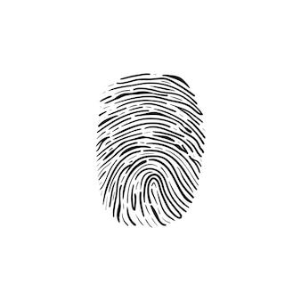 Icona di doodle di contorni disegnati a mano di impronte digitali. scanner di impronte digitali come prova della polizia e concetto di accesso digitale. illustrazione di schizzo vettoriale per stampa, web, mobile e infografica su sfondo bianco.