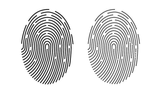 Disegno dell'icona dell'impronta digitale per app e disegno vettoriale dell'illustrazione piana dell'impronta digitale dell'impronta digitale