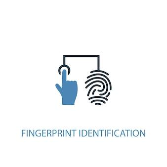 Concetto di identificazione delle impronte digitali 2 icona colorata. illustrazione semplice dell'elemento blu. design del simbolo del concetto di identificazione delle impronte digitali. può essere utilizzato per ui/ux mobile e web