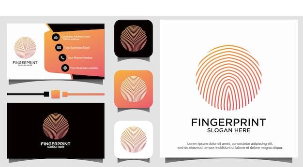 Modello di logo di sicurezza sicuro con blocco delle impronte digitali