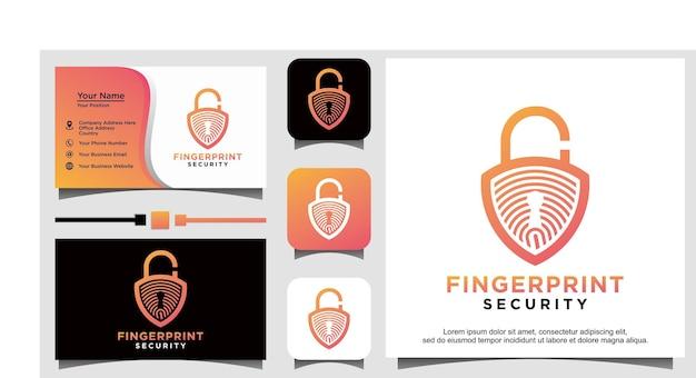 Logo dell'emblema dello scudo di sicurezza sicuro con blocco delle impronte digitali