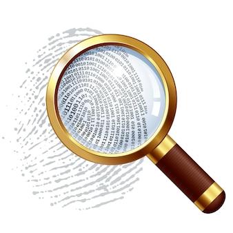 Impronta digitale e lente d'ingrandimento organizzato per strati colori globali sfumature utilizzate
