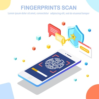 Scansione delle impronte digitali sul telefono cellulare.