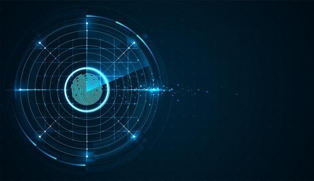 Scansione delle impronte digitali sul concetto di sistema di sicurezza astratto del circuito con impronta digitale