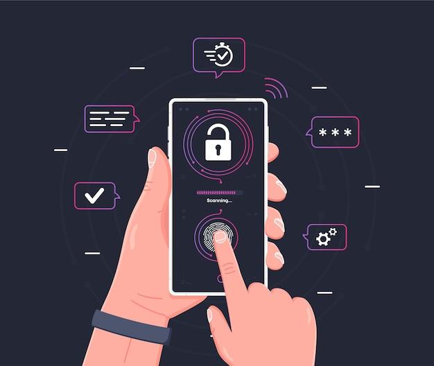 Scansione delle impronte digitali sul telefono cellulare gadget che tiene la mano umana con tecnologia di scansione biometrica