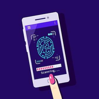 Scansione delle impronte digitali sul telefono cellulare
