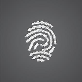 Icona di doodle del logo di schizzo di impronte digitali isolato su sfondo scuro