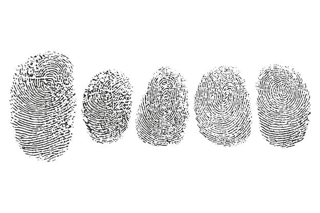 Icone nere di vettore dell'impronta digitale messe isolate su un fondo bianco.