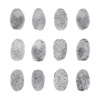 Set di impronte digitali vettoriale