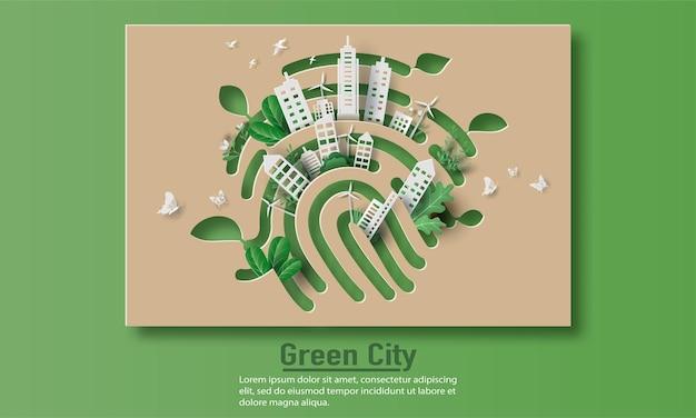 Impronta digitale con una città, salva il pianeta e il concetto di energia, illustrazione di carta e carta.