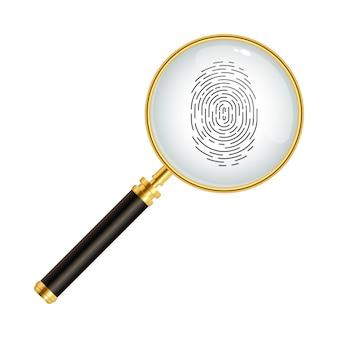 Impronta digitale con illustrazione della lente di ingrandimento