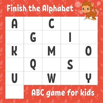 Termina l'alfabeto. gioco abc per bambini. foglio di lavoro per lo sviluppo dell'istruzione. scimmia marrone.