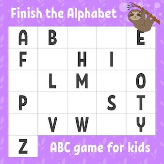 Termina l'alfabeto. gioco abc per bambini. foglio di lavoro per lo sviluppo dell'istruzione. bradipo marrone