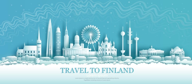 Attrazioni architettoniche finlandesi a helsinki con lo sfondo dell'aurora boreale