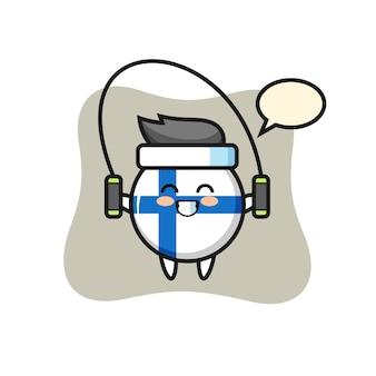 Fumetto del personaggio del distintivo della bandiera della finlandia con corda per saltare, design in stile carino per maglietta, adesivo, elemento logo