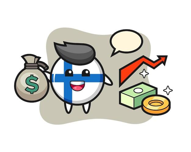 Illustrazione del distintivo della bandiera della finlandia cartone animato con sacco di soldi, design in stile carino per maglietta, adesivo, elemento logo