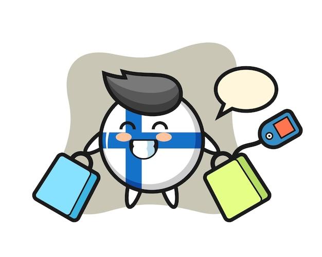 Cartone animato della mascotte del distintivo della bandiera della finlandia che tiene una borsa della spesa, design in stile carino per maglietta, adesivo, elemento logo