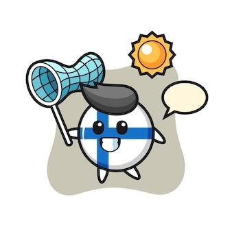 L'illustrazione della mascotte del distintivo della bandiera della finlandia sta catturando la farfalla, il design in stile carino per la maglietta, l'adesivo, l'elemento del logo