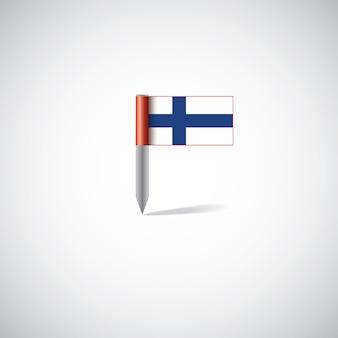 Perno della bandiera della finlandia, isolato su sfondo bianco
