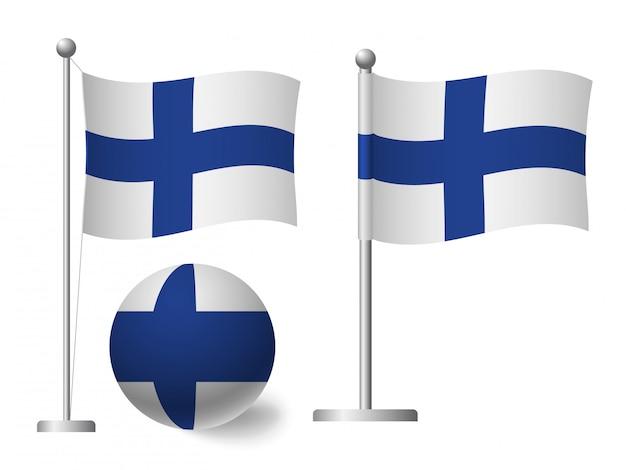 Bandiera della finlandia sull'icona palo e palla