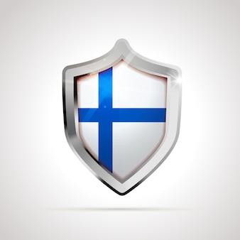 Bandiera della finlandia proiettata come uno scudo lucido