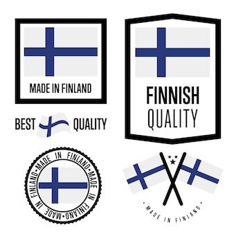 Set di marchi di qualità finlandese Vettore Premium